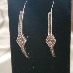 Silvertone Crystal Pavé threader earrings